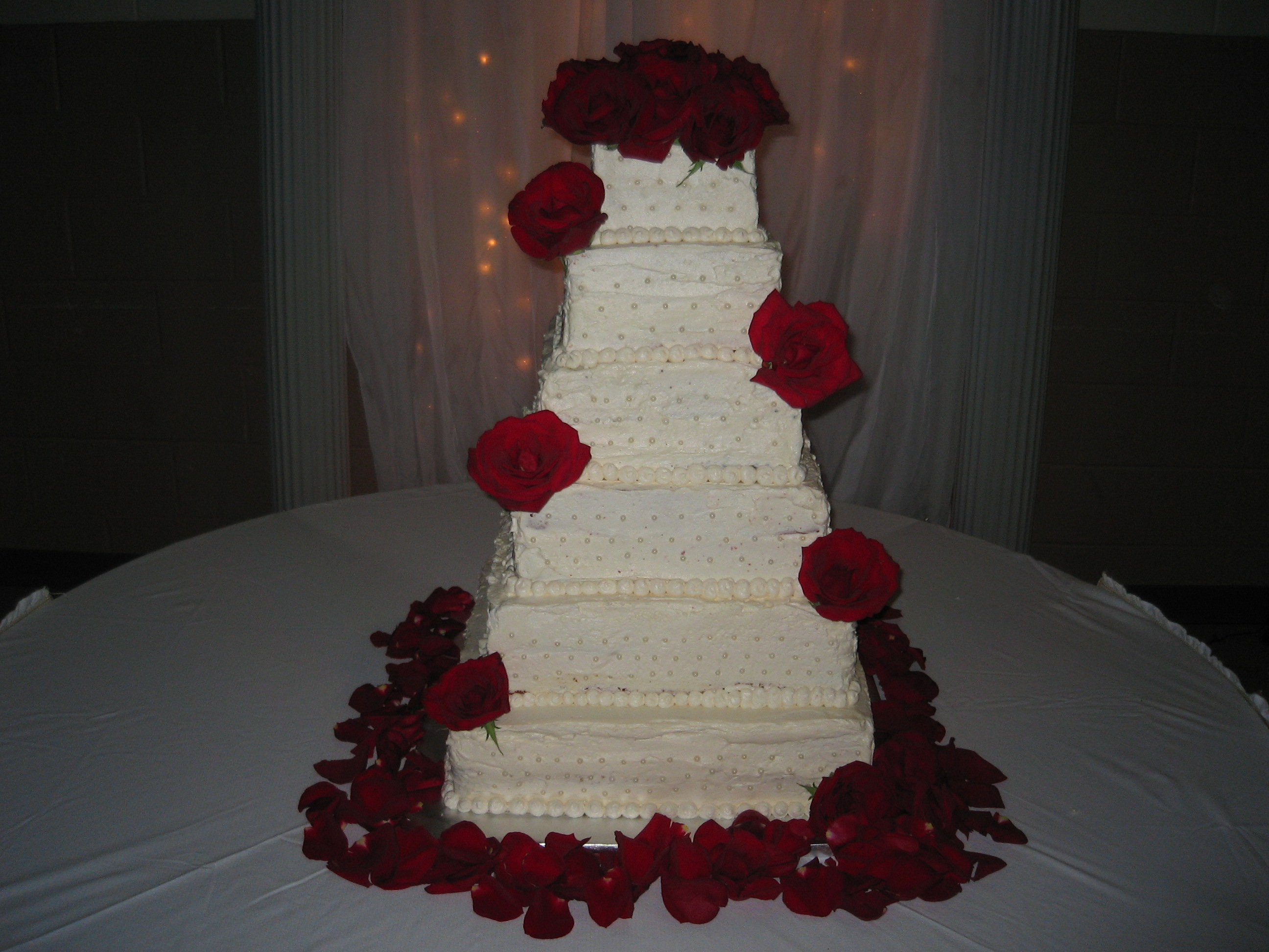 Square Stacked 6-Tier Cake with Pearls and Roses