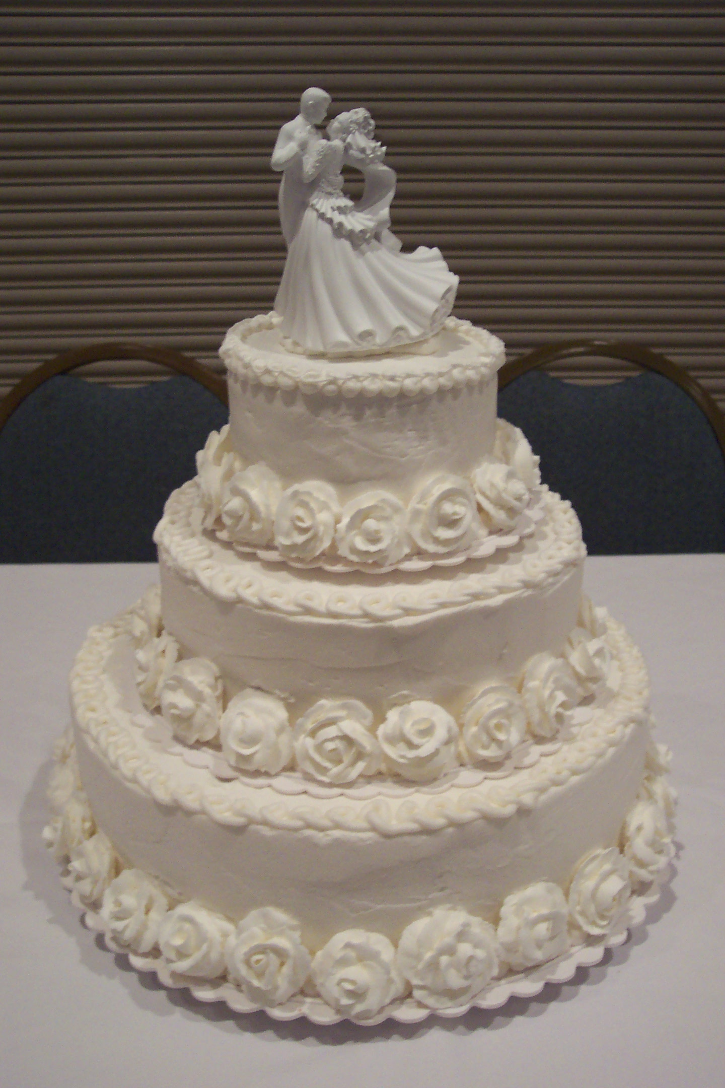 3-Tier Stacked Round Cake with Royal Icing Roses