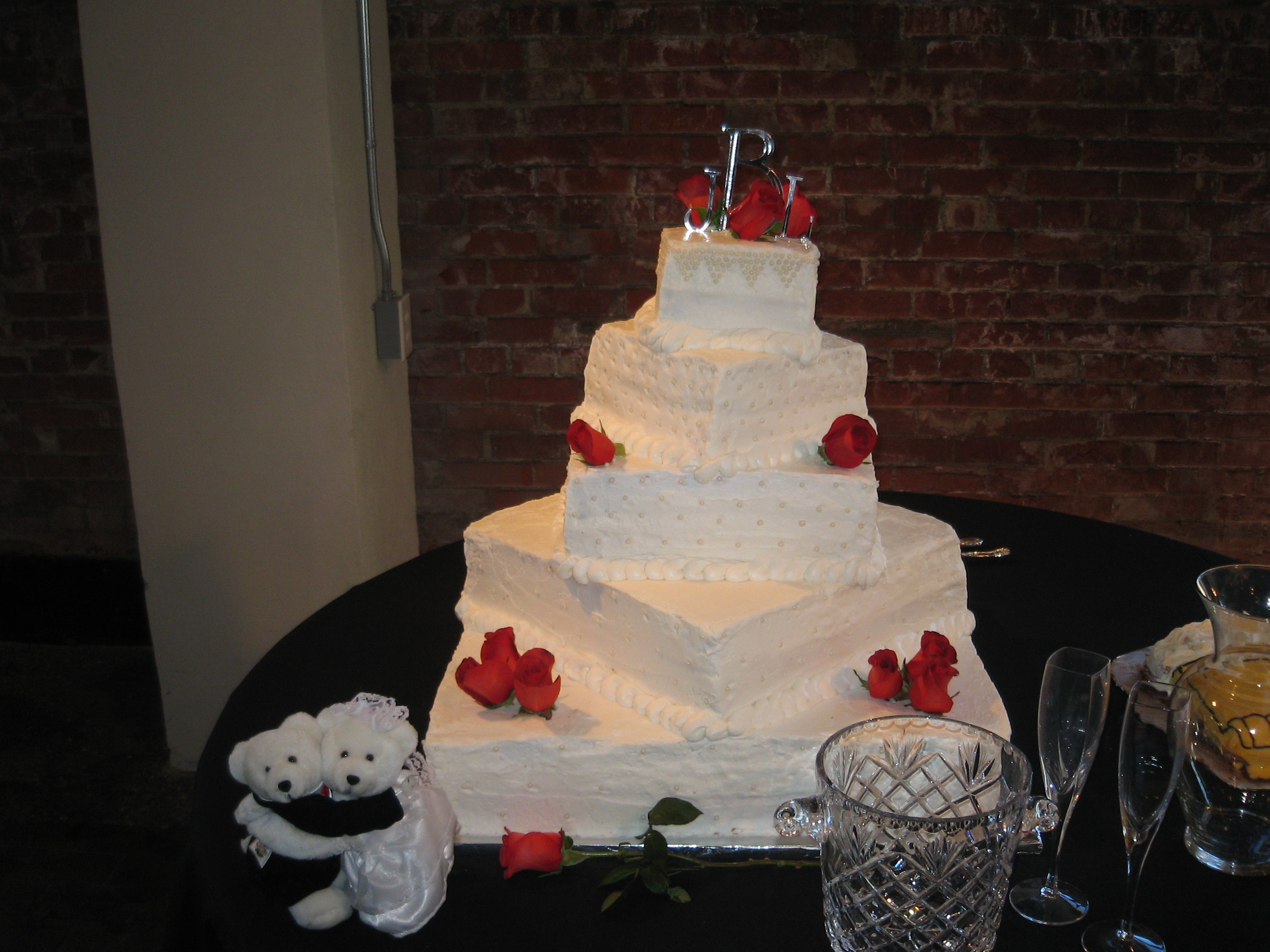 Square Stacked Offset 5-Tier Cake with Roses and Pearls